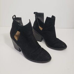Black Faux Suede Booties Ankle Boots with Heel Sz8